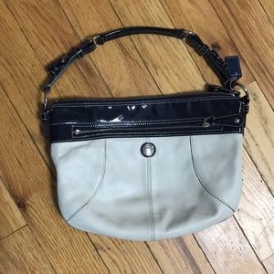Coach F14886 Laura Hobo Bag Taupe Navy Leather